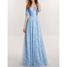 Elegant Tulle Over Lace Skirt Evening Dresses with Short Sleeves