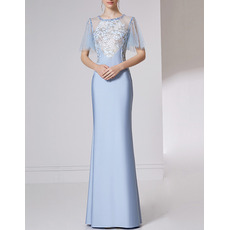 Inexpensive Long Satin Embroidery Evening Dresses with Short Sleeves