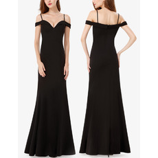 Simple Spaghetti Straps Floor Length Silk Like Satin Evening Dresses