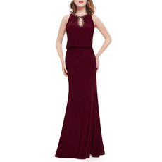 Elegantly Sheath/ Column Beaded Neckline Floor Length Chiffon Evening Dresses with Side Split