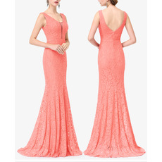 Simple Deeo V-Neck Sleeveless Floor Length Lace Evening/ Prom Dresses