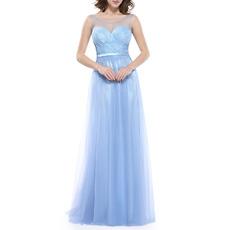 Sexy Sleeveless Floor Length Pleated Tulle Evening/ Prom Dresses