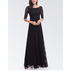 Elegant Floor Length Lace Black Evening Dresses with Half Sleeves