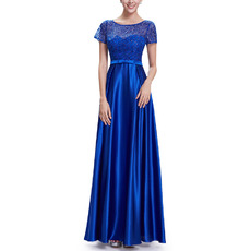 2018 New Long Satin Applique Evening Dresses with Short Sleeves