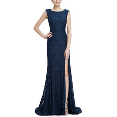 Custom Sheath Sleeveless Sweep Train Lace Slit Evening/ Prom Dresses