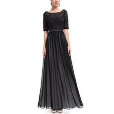 Custom Long Chiffon Lace Black Evening Dresses with Half Sleeves