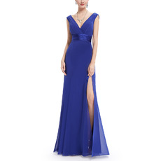 Sexy Deep V-Neck Floor Length Chiffon Evening Dresses with Slit Skirt