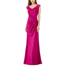 Simple Sheath V-Neck Floor Length Satin Evening/ Prom Dresses with Lace Bodice