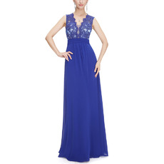 Sexy Deep V-Neck Chiffon Evening Dresses with Applique Bodice and Illusion Back