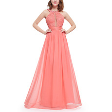 Sexy Sleeveless Floor Length Chiffon Evening/ Prom Dresses with Straps
