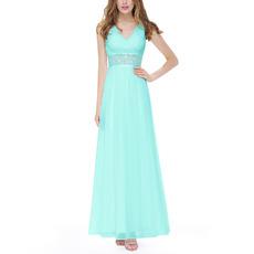 Custom V-Neck Sleeveless Floor Length Chiffon Evening/ Prom Dresses