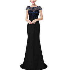 Sexy Floor Length Lace Chiffon Evening Dresses with Short Sleeves