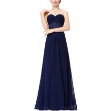 2018 Spring Sweetheart Floor Length Chiffon Evening/ Prom Dresses