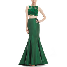 Sexy Sheath Floor Length Satin & Lace Two-Piece Evening Dresses