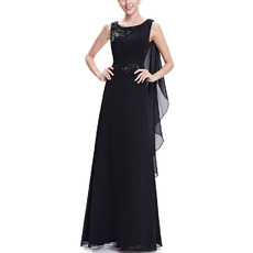 Custom Sleeveless Floor Length Chiffon Black Evening/ Prom Dresses