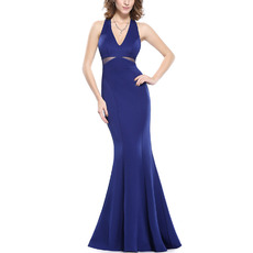 Sexy Mermaid Deep V-Neck Floor Length Satin Evening/ Prom Dresses with Cutout Waist