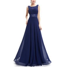 Elegant Sleeveless Floor Length Chiffon Evening/ Prom Dresses with Low Back