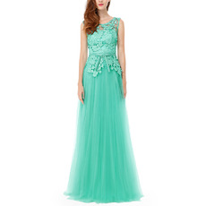 Discount Sleeveless Tulle Evening Dresses with Lace Applique Bodice and Open Back