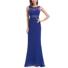 Elegant Sheath Sleeveless Floor Length Chiffon Evening Dresses