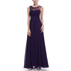 2018 New Style Sleeveless Floor Length Chiffon Evening Dresses