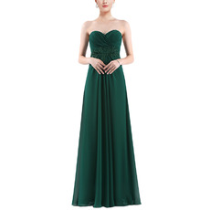 Graceful Sweetheart Empire Pleated Chiffon Evening Dresses with Applique Waist