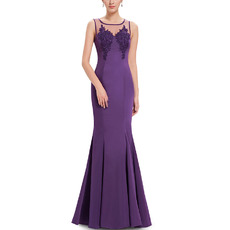 Sexy Mermaid Sleeveless Floor Length Satin Evening Dresses with Applique Bodice