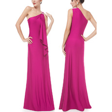 Sexy One Shoulder Sleeveless Floor Length Satin Evening Dresses