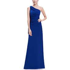 Elegant One Shoulder Sleeveless Floor Length Chiffon Evening Dresses