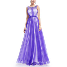 New Style Sleeveless Floor Length Satin Tulle Evening Dresses