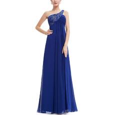 Custom Empire One Shoulder Floor Length Chiffon Evening Dresses