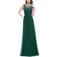 Custom Sleeveless Floor Length Chiffon Evening/ Prom Dresses
