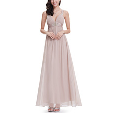 Affordable Wide Straps Pleated Chiffon Evening Dresses