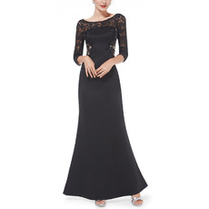 Couture Illusion Neckline Black Satin Mother Evening Dresses with 3/4 Long Sleeves