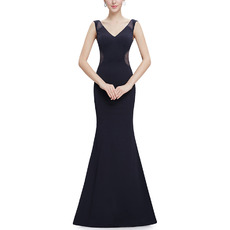 Discount Sheath V-Neck Sleeveless Floor Length Satin Evening Dresses