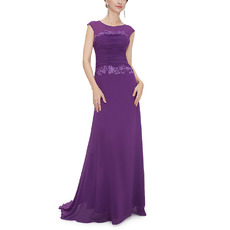 Feminine  Sleeveless Long Length Chiffon Evening/ Prom Dresses with Ruched Bodice