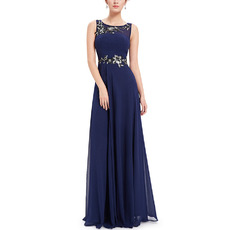Elegance Sleeveless Floor Length Navy Blue Chiffon Beadings Applique Evening Dresses