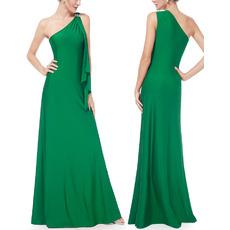 Elegant One Shoulder Floor Length Satin Formal Evening Dresses
