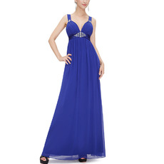 Modern Sexy Sweetheart Long Blue Chiffon Evening Dresses with Straps
