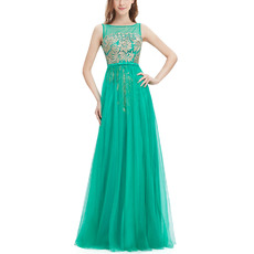 Custom Classic A-Line Sleeveless Floor Length Tulle Embroidery Formal Evening Dresses