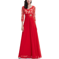 Inexpensive Simple Long Lace REd Chiffon Formal Evening Dresses with 3/4 Long Sleeves