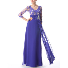Inexpensive Long Lace Chiffon Formal Prom Evening Dresses with 3/4 Long Sleeves