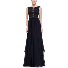 Inexpensive Sexy A-Line Sleeveless Black Long Chiffon Lace Prom Evening Dresses