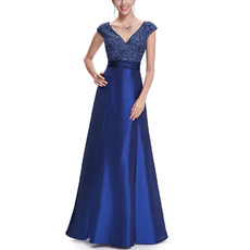 Dramatic A-Line V-Neck Full Length Taffeta Evening Dresses with Shimmering Sequined Bodice