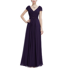 Elegance Double V-Neck Full Length Purple Chiffon Pleated Evening Dresses with Short Cap Sleeves