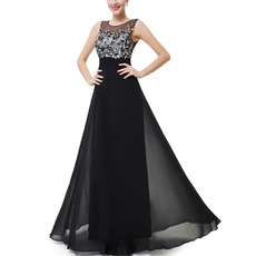 Inexpensive Women's Long Chiffon Black Evening/ Prom Dresses with Applique and Keyhole