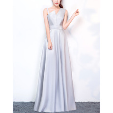 Delicate Fashionable Asymmetric Neckline Long Length Satin Evening Party Dresses