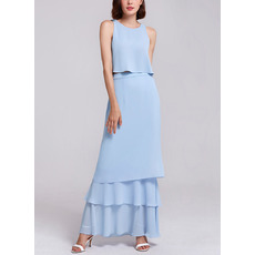 Classy Round Neck Sleeveless Long Length Chiffon Two-Piece Evening Dresses with Layered skirt