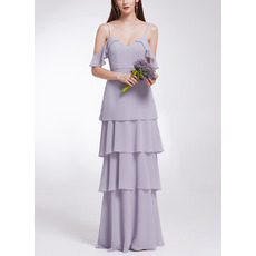Ultra-feminine Spaghetti Straps Deep V-neckline Long Chiffon Tiered Skirt Evening Dresses