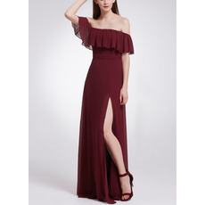 Stunning Ruffles Off-the-shoulder Floor Length Chiffon Evening Dresses with Side Slit