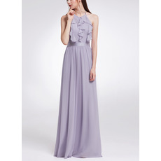 Modern and Romantic Halter Sleeveless Floor Length Chiffon Evening Dresses with Front Ruffles